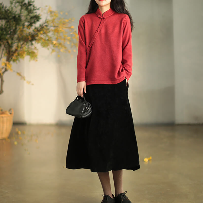 Winter Stand Collar Pure Color Sweater