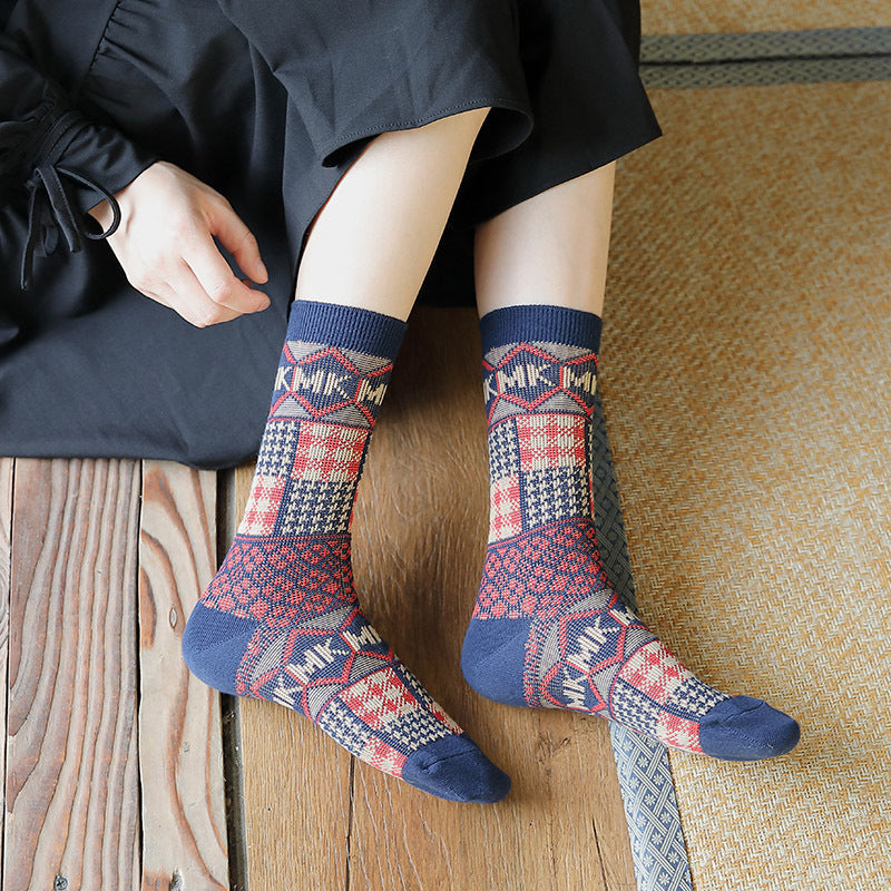 Winter Stitching Plaid Letter Socks(5 Pairs)