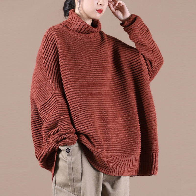 Winter Striped Turtleneck Knitted Sweater
