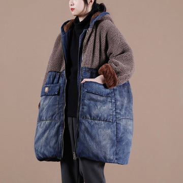 Winter Thick Denim Lambswool Stitching Coat