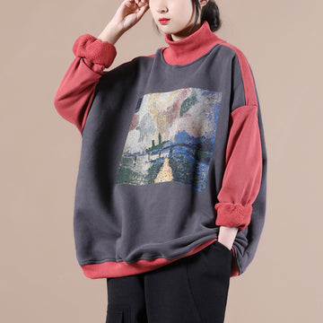 Winter Thick Turtleneck Stitching Print Sweatshirt