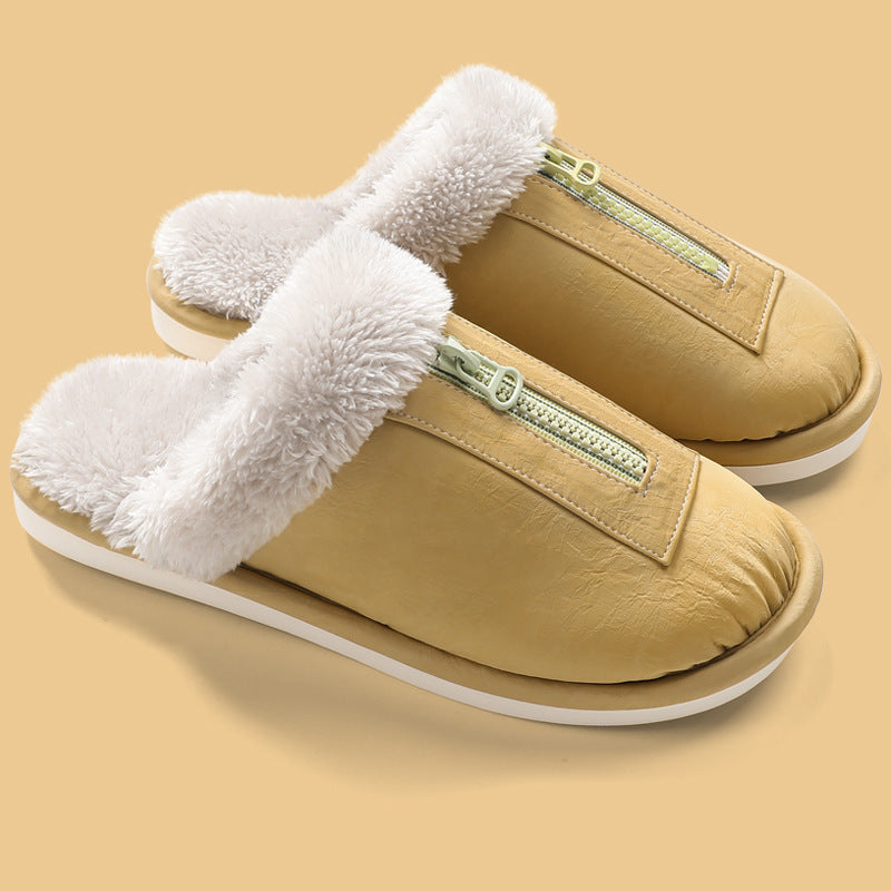 Winter Thick Warm Plush Zipper Slippers