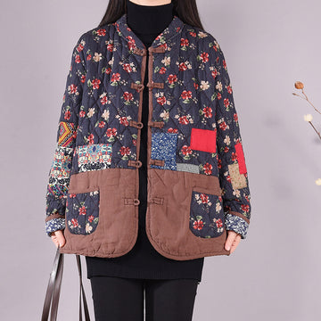 Winter Thicken Floral Print Patchwork Coat
