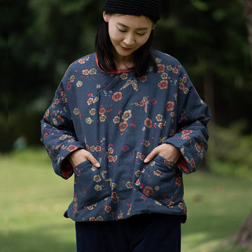 Winter Thicken Floral Print Pocket Top