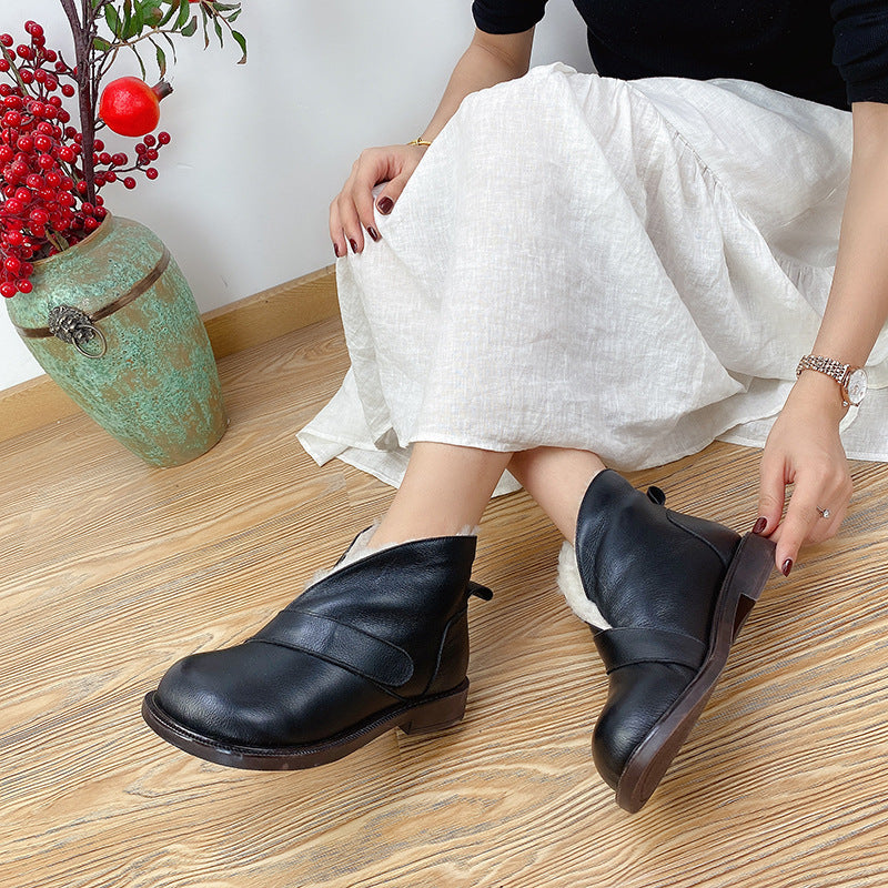 Winter Thicken Pure Color Leather Shoes