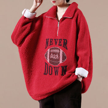 Winter Thicken Warm Loose Zipper Sweatshirt