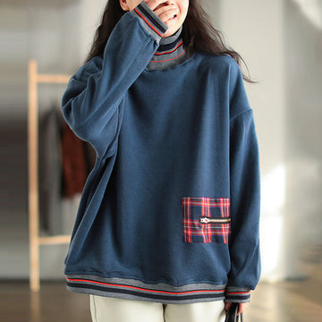 Winter Thicken Warm Plus Velvet Stitching Sweatshirt