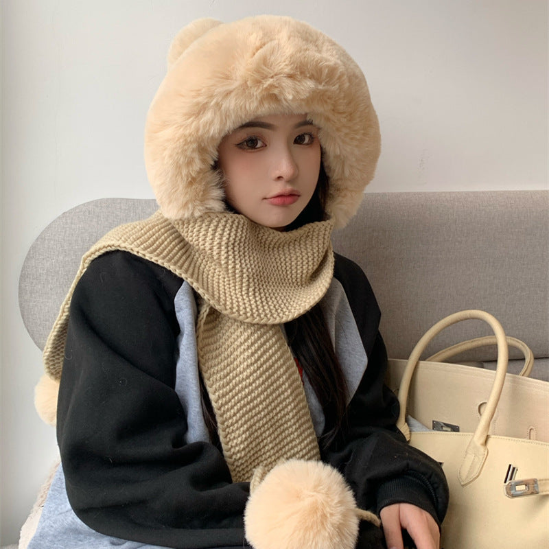 Winter Thicken Warm Women Hat Scarf