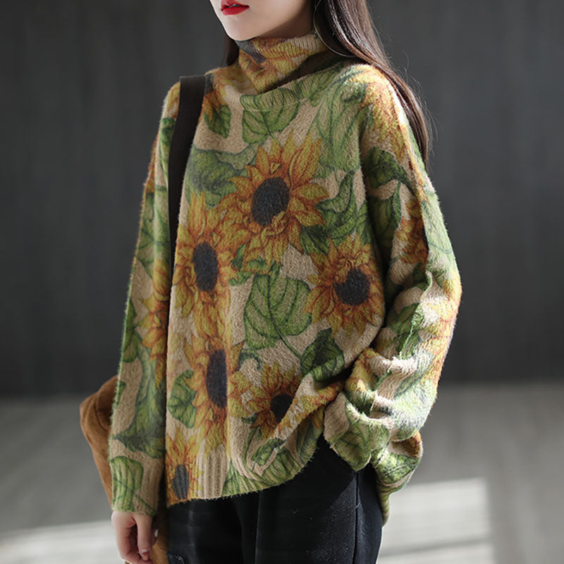 Winter Turtleneck Knitted Floral Sweater