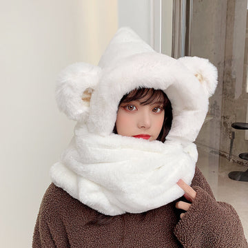Winter Warm Bear Hat Scarf Gloves