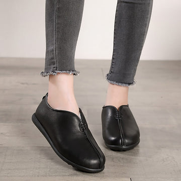 Winter Warm Flat Leather Short Boots