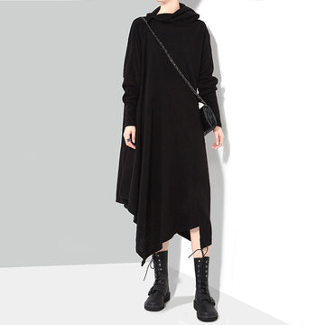 Winter Warm Irregular Knitted High Collar Dress