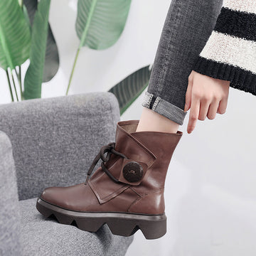 Winter Warm Lace-up Zipper Leather Boots