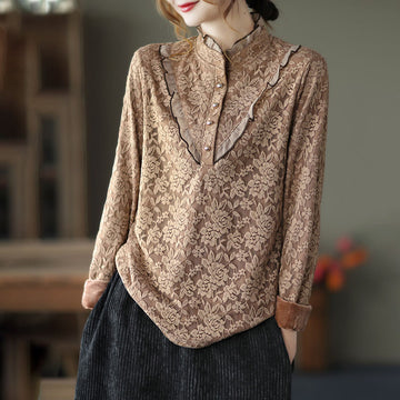 Winter Warm Lace Flower Breasted Top