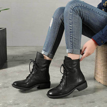 Winter Warm Lacing Pure Color Leather Boots