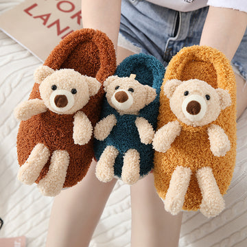 Winter Warm Lovely Bear Velvet Slippers