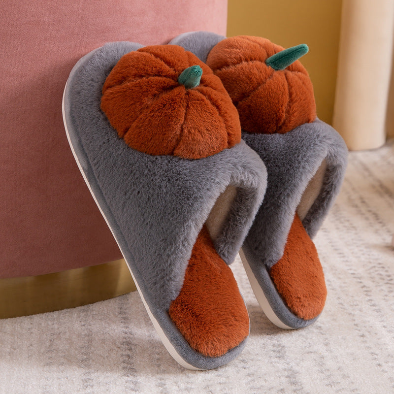 Winter Home Warm Pumpkin Thick Slippers