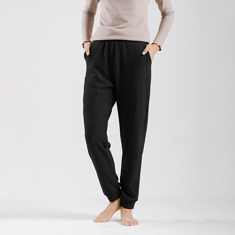 Winter Warm Pure Color Elastic Home Pants