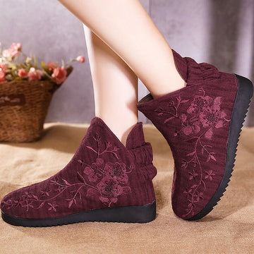 Winter Warm Retro Floral Embroidered Boots