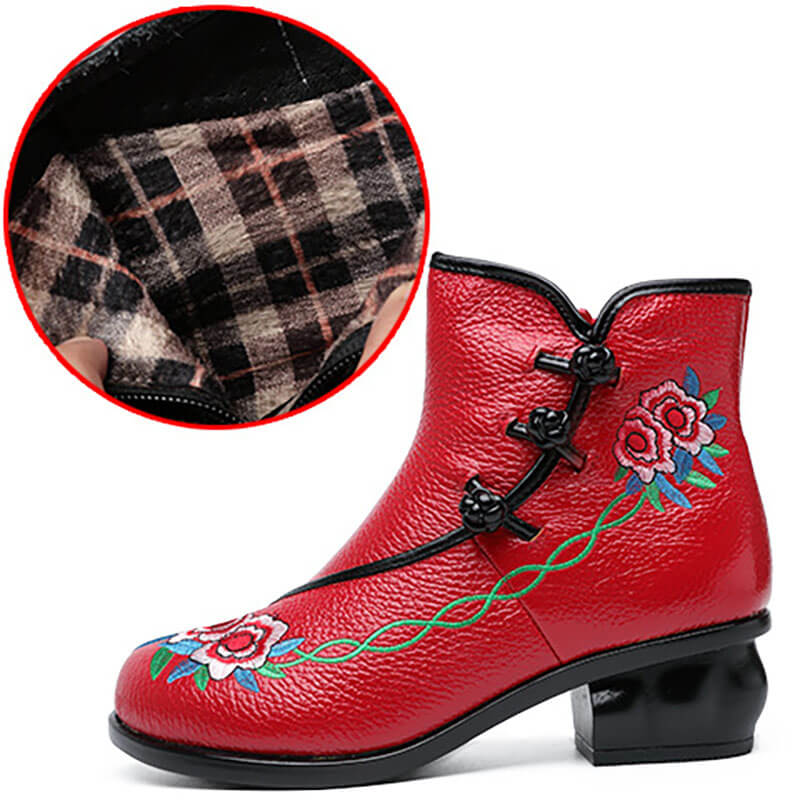 Winter Warm Retro Floral Zipper Embroidered Boots