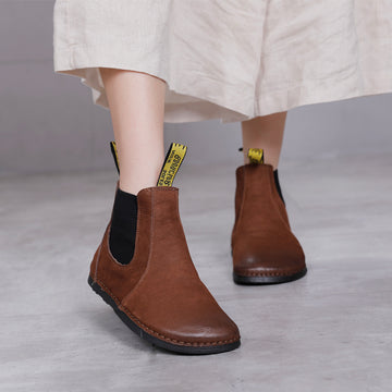 Winter Warm Retro Leather Flat Boots