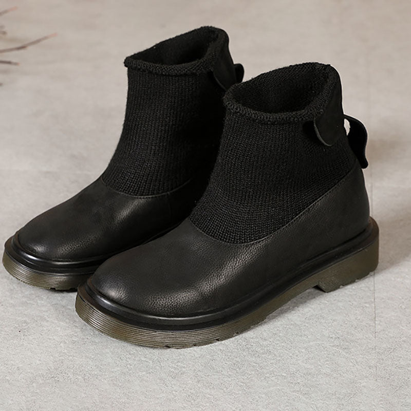 Winter Warm Stitching Leather Boots