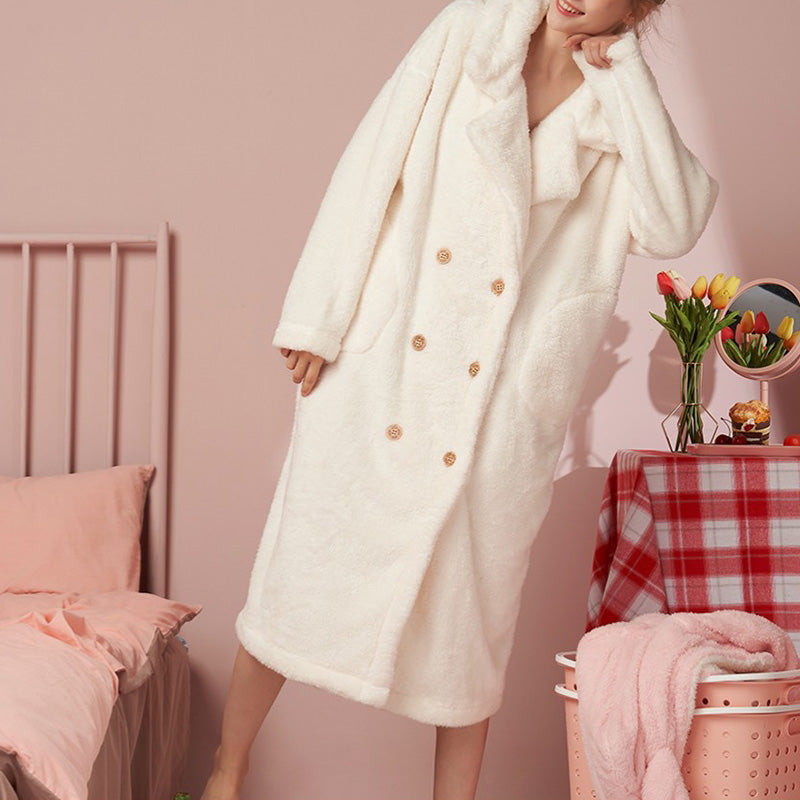 Winter Warm Thicken Coral Fleece Nightdress