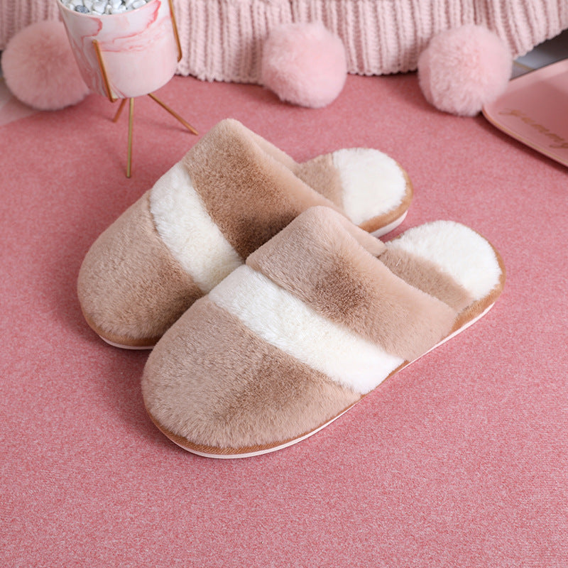 Winter Warm Velvet Color Stitching Home Slippers
