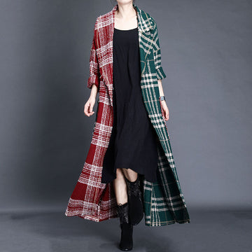 Winter Warm Women Striped Long Coat