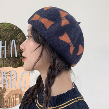 Winter Women Bowknot Berets Wool Hat
