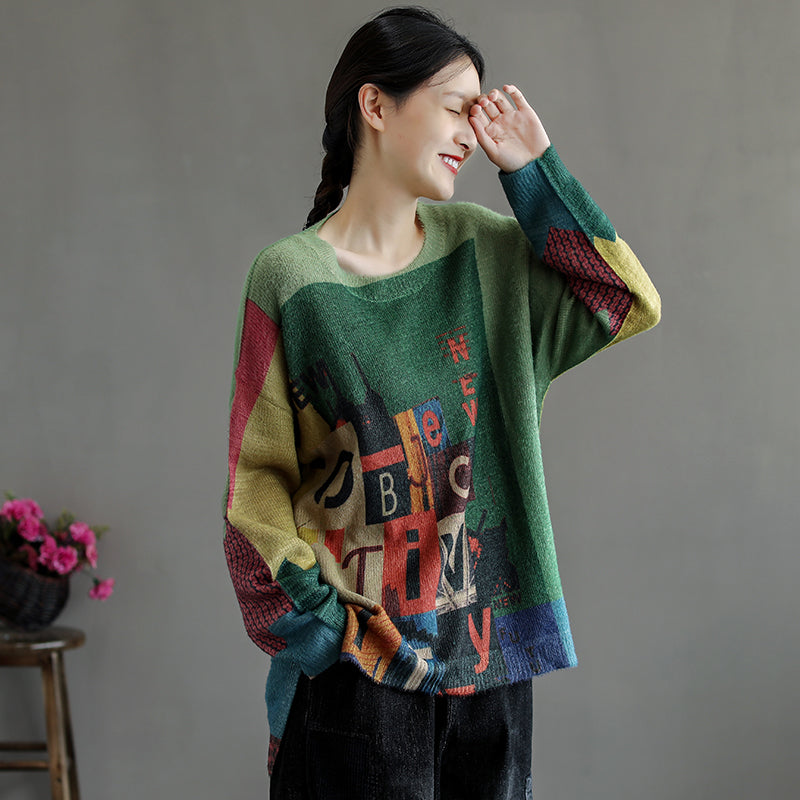 Winter Women Color Stitching Letter Sweater