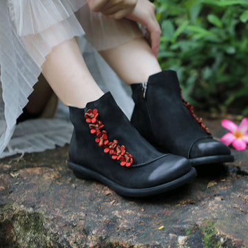 Winter Women Elegant Floral Leather Short Boots