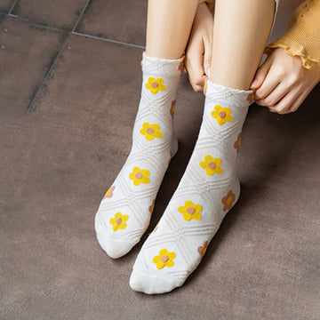 Winter Women Flower Cute Socks(4 Pairs)