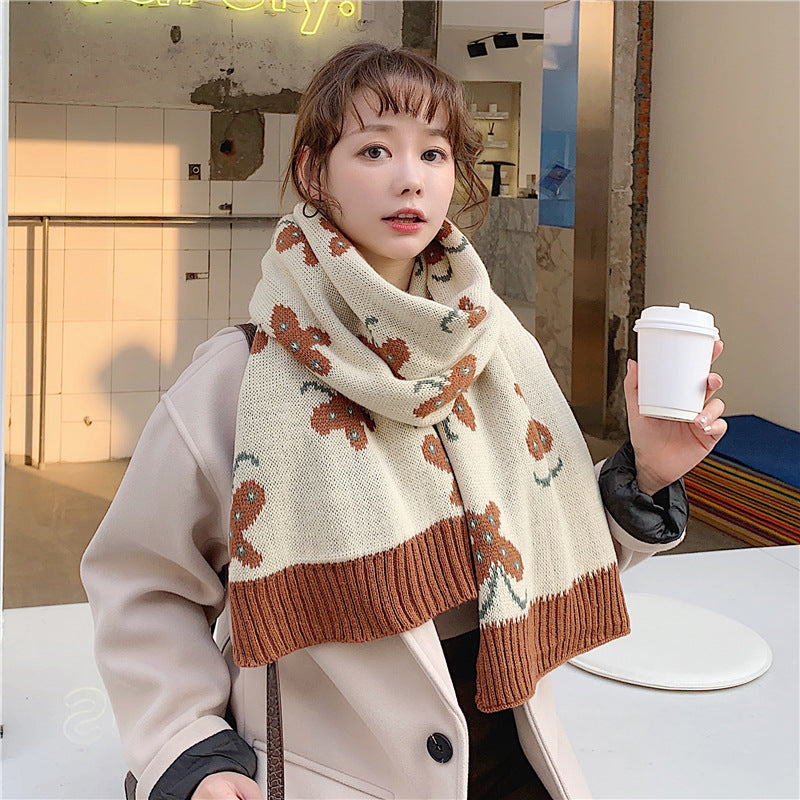 Winter Women Knitted Butterflies Scarf