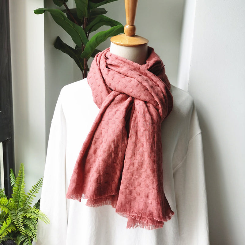 Winter Women Plaid Fringed Cotton Scarf