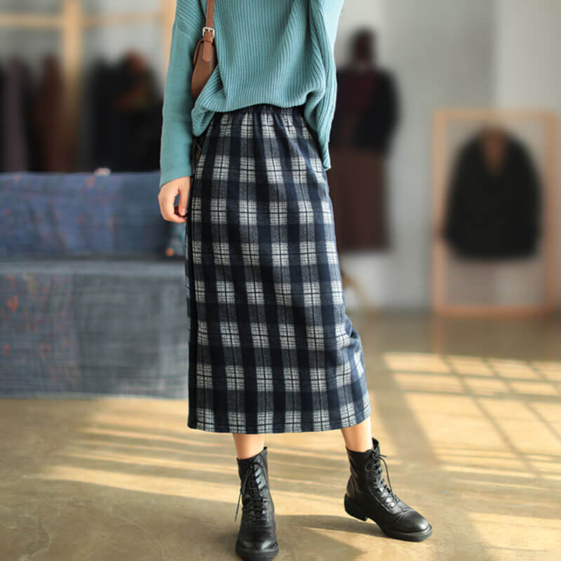 Winter Women Plaid Warm Elastic Waist Skirt