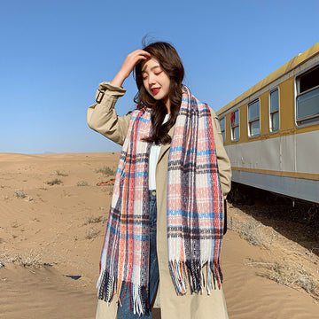 Winter Women Plaid Warm Thick Scarf