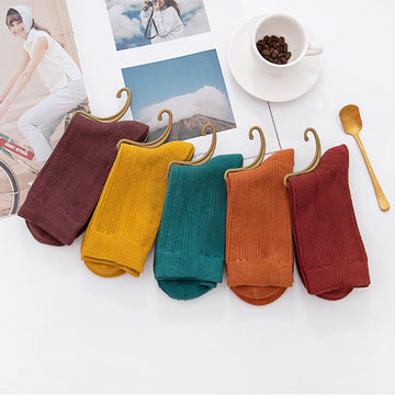 Winter Women Pure Color Color Socks(10 Pairs)