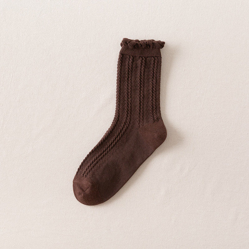 Winter Women Pure Color Cotton Socks(5 Pieces)