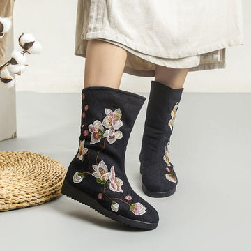 Winter Women Retro Floral Simple Boots