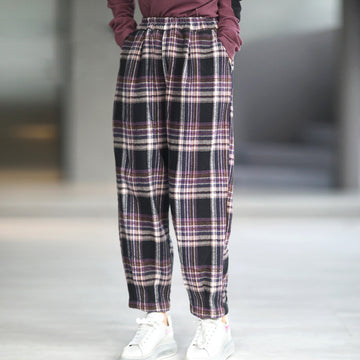 Winter Women Retro Plaid Warm Casual Pants