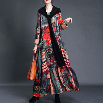 Winter Women Retro Print Pocket Dress