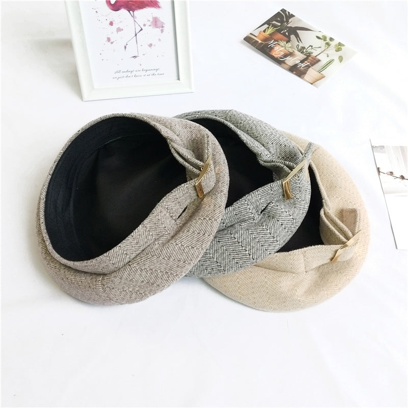 Winter Women Solid Color Beret Hat