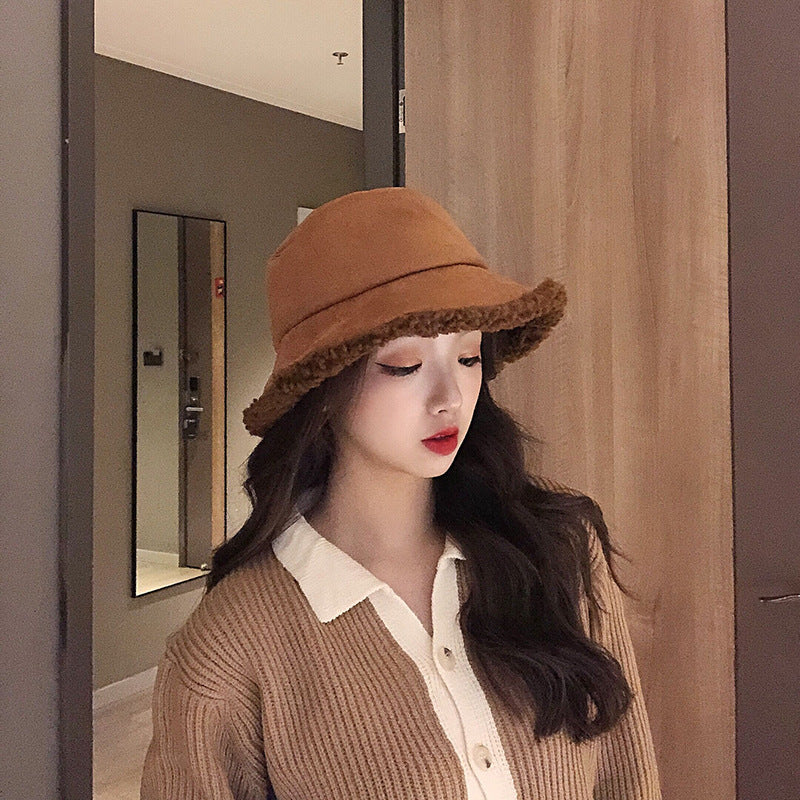 Winter Women Solid Color Lambswool Hat