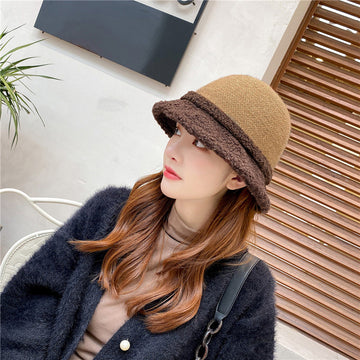 Winter Women Stitching Color Contrast Hat