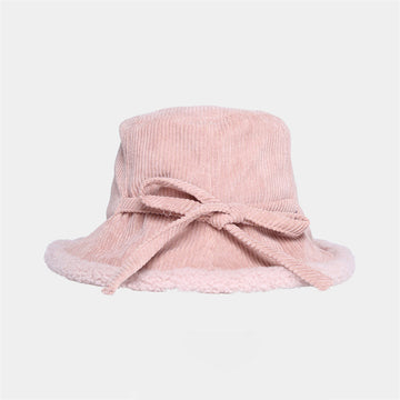 Winter Women Stitching Corduroy Lacing Hat