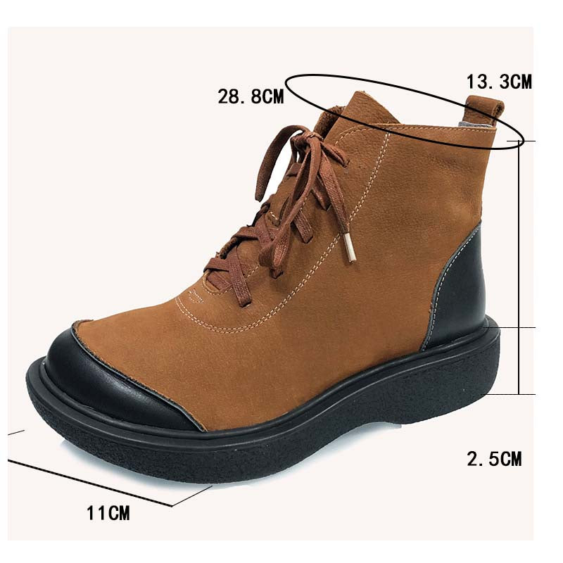Winter Women Stitching Leather Lace-up Boots