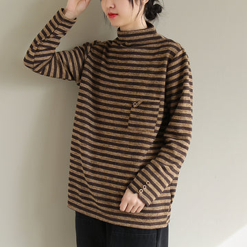 Winter Women Striped Pocket Turtleneck Sweatshirt
