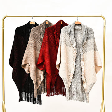 Winter Women Tassel Shawl Knitted Cloak