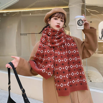 Winter Women Warm Knitted Floral Scarf